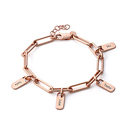 Rory Link armbånd med graverede charms i 18kt. rosaforgyldt sølv product photo