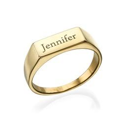 Indgraveret signet ring i forgyldt Sterling sølv product photo