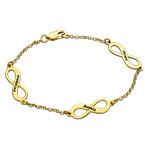 Infinity-Armbånd i Guldbelagt Sølv med Flere Vedhæng