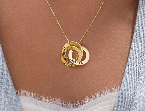 Runde smykker i sølv og guld