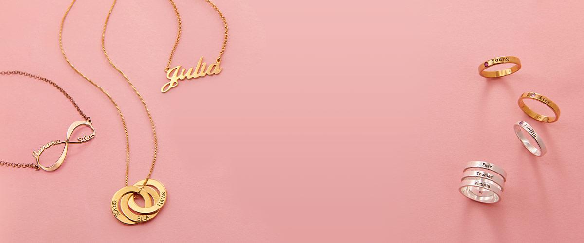 Min navnehalskæde størrelsesguide for smykker