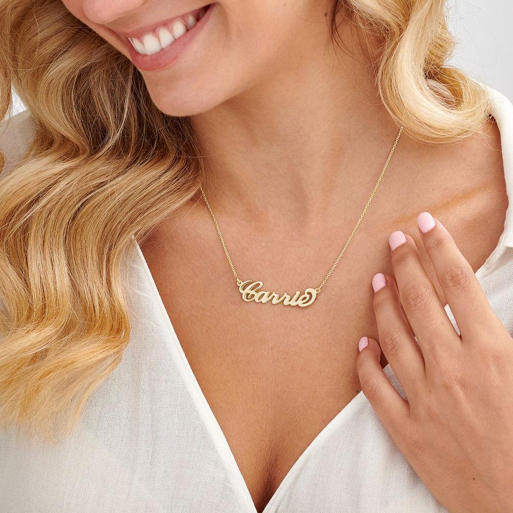 """Collar con nombre Estilo """"Carrie"""", plata de ley chapada en oro 18k - 2"""