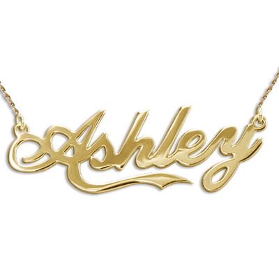 Collar con nombre personalizado inspirado en el estilo Coca Colade oro 14k foto de producto