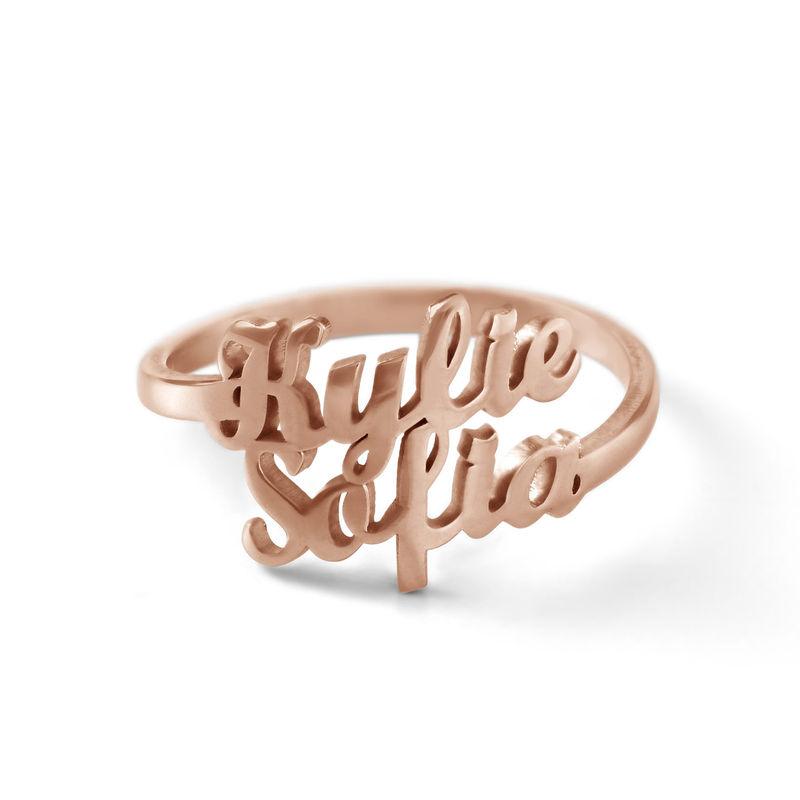 Anillo Personalizado con Dos Nombres Chapado en Oro Rosa foto de producto