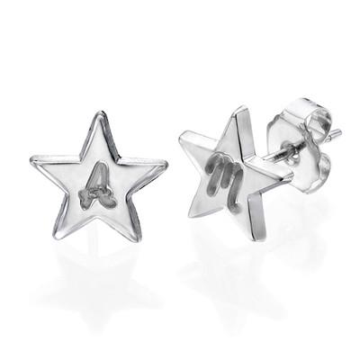 Aretes de Estrella de plata de ley con inicial foto de producto