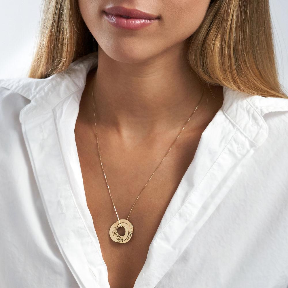 Collar Anillo Ruso Grabado en Oro Amarillo de 10k - 3