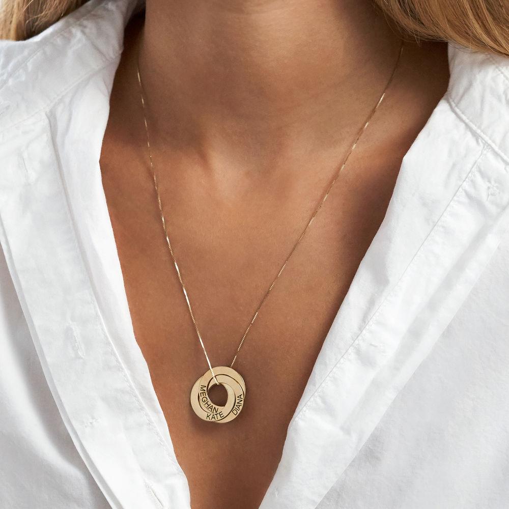 Collar Anillo Ruso Grabado en Oro Amarillo de 10k - 4