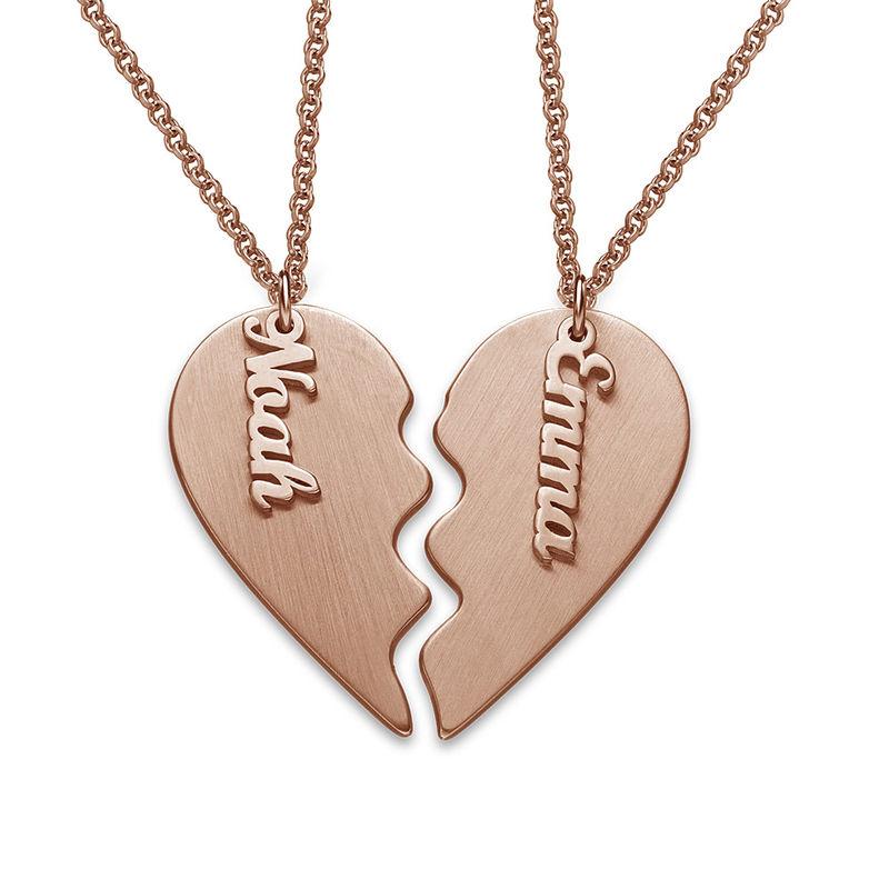 Collar Corazón Grabado de Parejas en Chapa de Oro Rosa Mate foto de producto