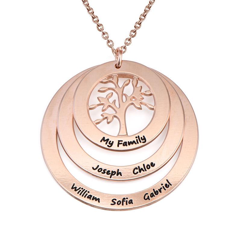 Collar del Círculo de Familia con Árbol de la Familia Chapado en Oro Rosa 18K