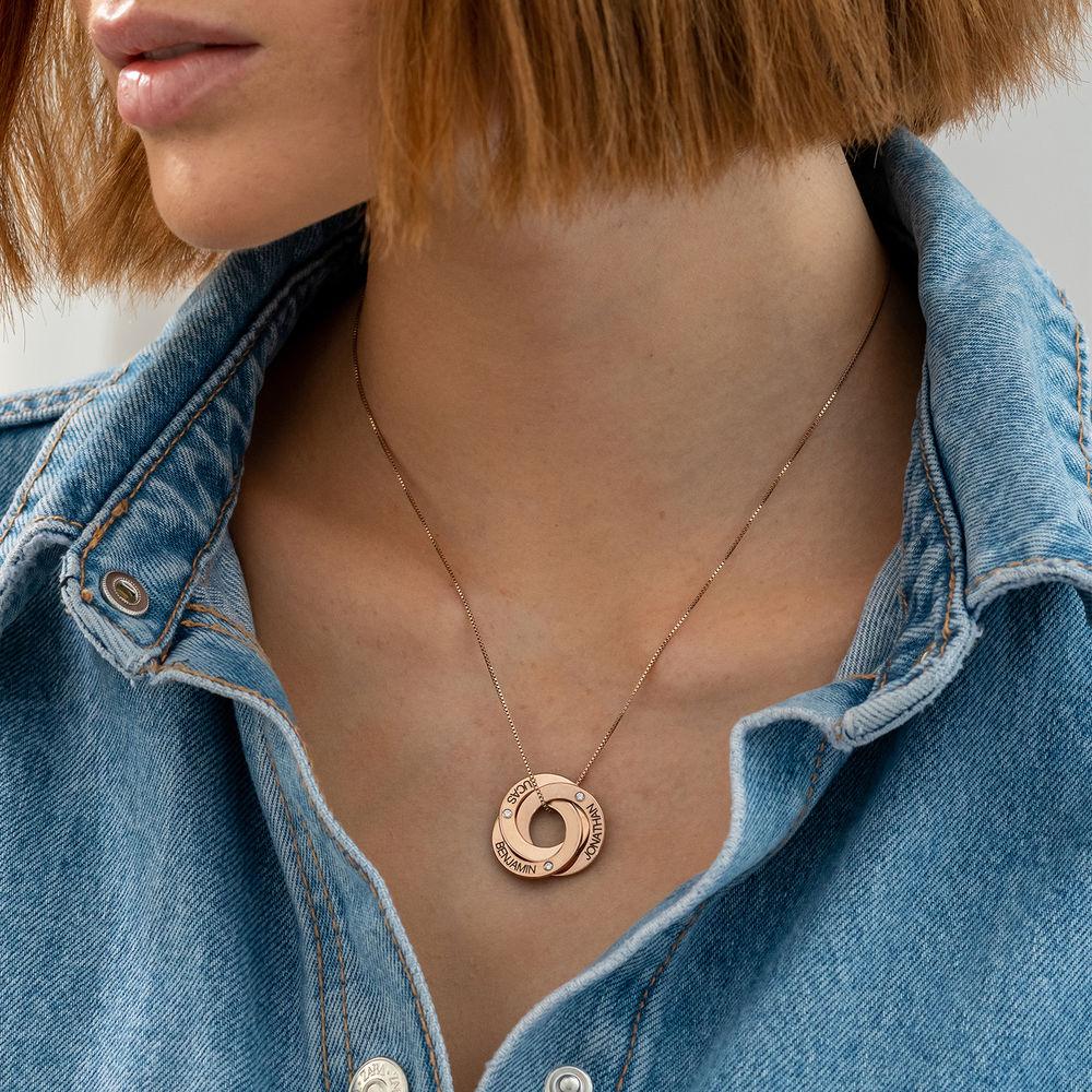 Collar Anillo Ruso Grabado con Diamantes Chapado en Oro Rosa - 2