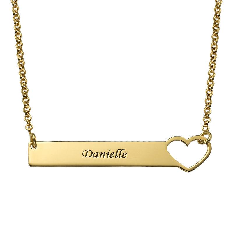 Collar de barra con corazón grabado – chapa de oro de 18K foto de producto