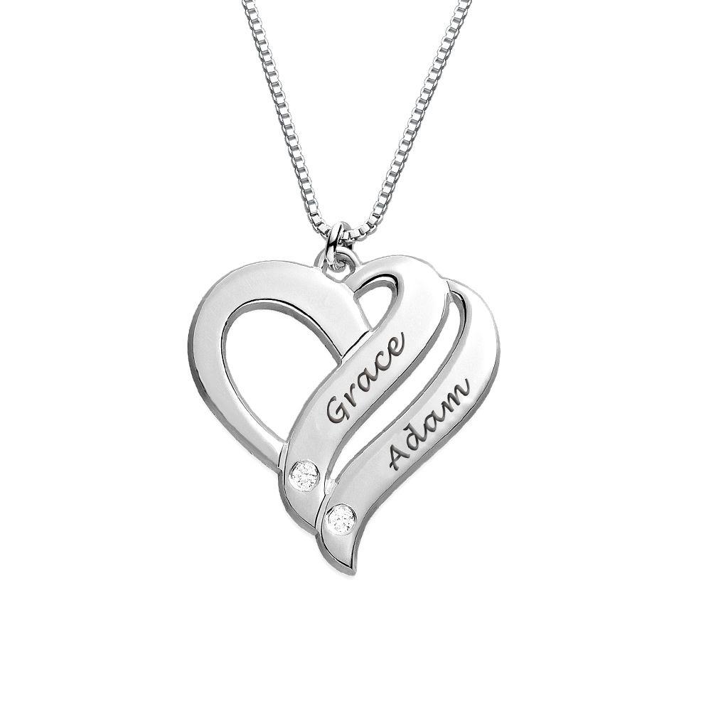 """Collar """"Dos Corazones por Siempre Uno"""" con Diamantes en plata de ley foto de producto"""