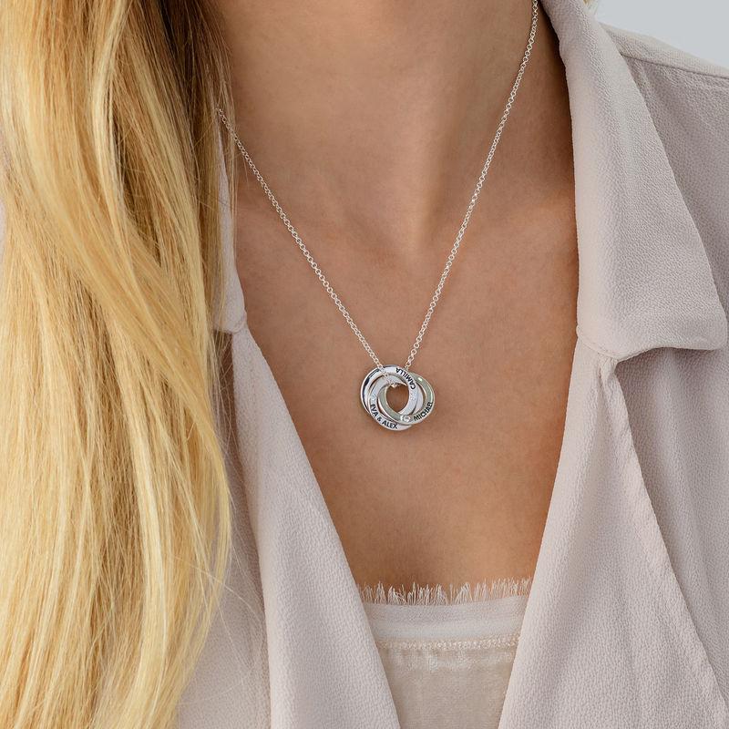 Collar anillo ruso con circonia cúbica en plata - 3