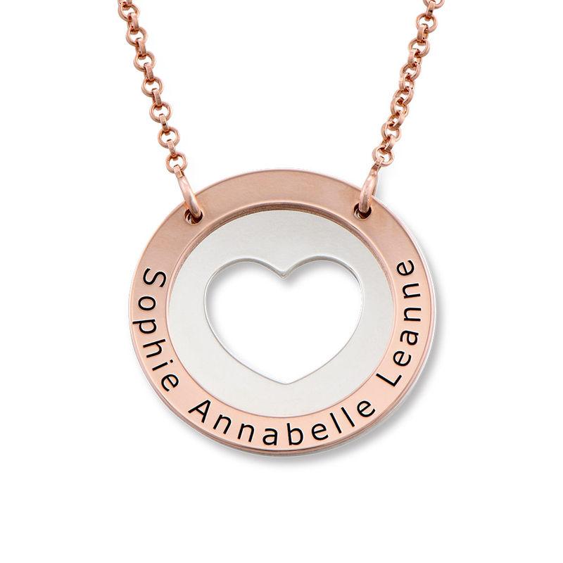 Collar de corazón circular en plata y chapado en oro rosa foto de producto