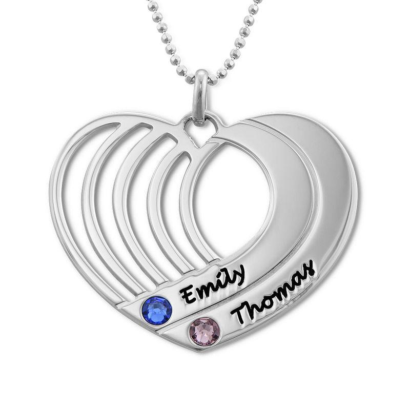 Collar de corazón grabado en plata foto de producto