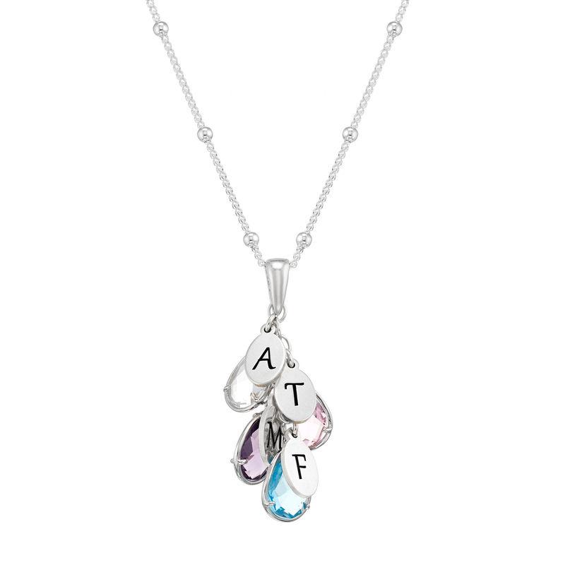 Colgante personalizado con piedra de nacimiento para mamá en plata foto de producto