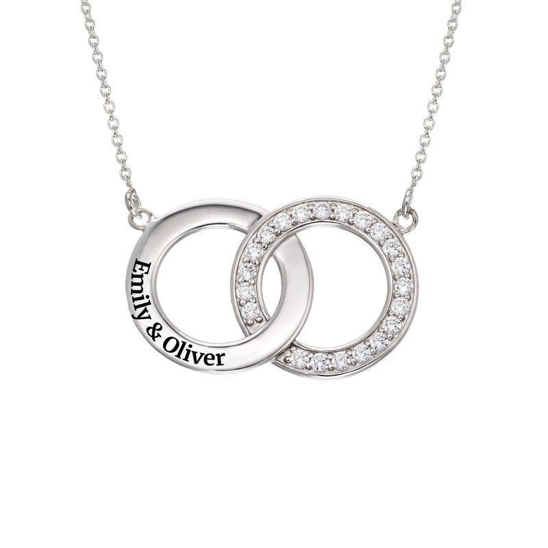 Collar con círculos entrelazados con circonia cúbica en plata 925 foto de producto