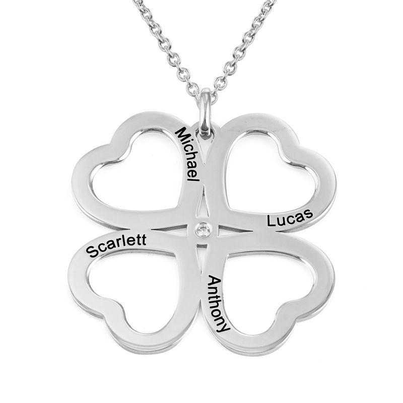 Collar de corazón con trébol de cuatro hojas en plata con diamante foto de producto