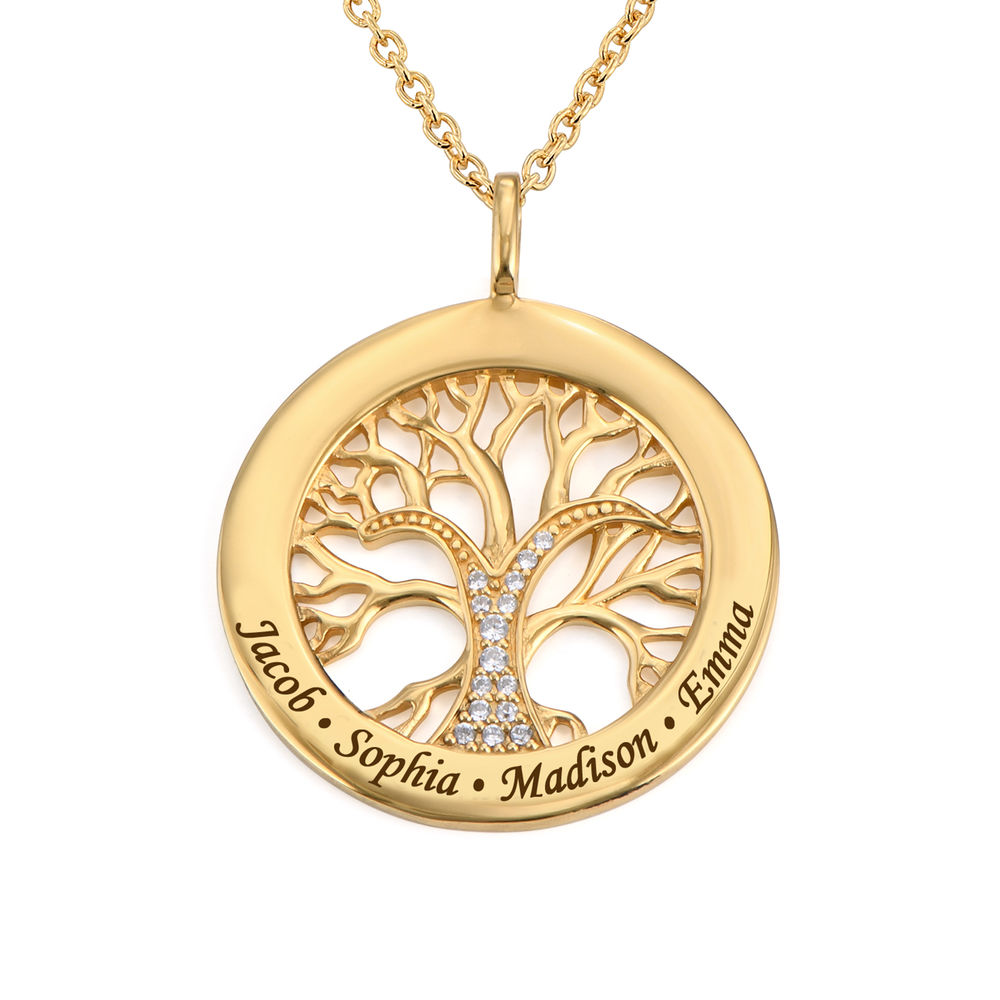 Collar con Círculo con Árbol de la Vida y Circonia Cúbica Chapado en Oro