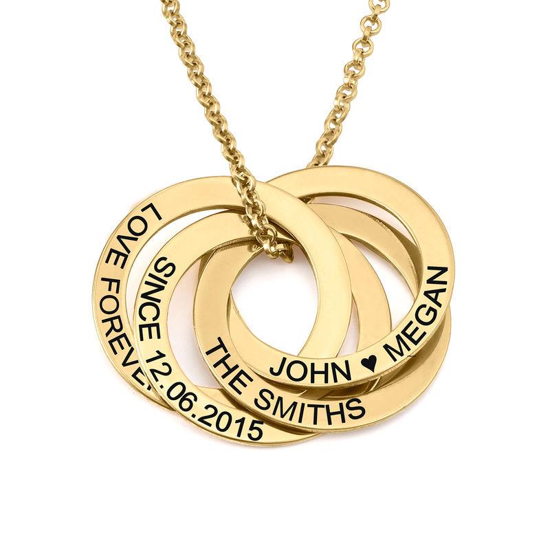 Collar de anillo ruso con cuarto anillos en plata 925 chapado en oro vermeil 18k foto de producto