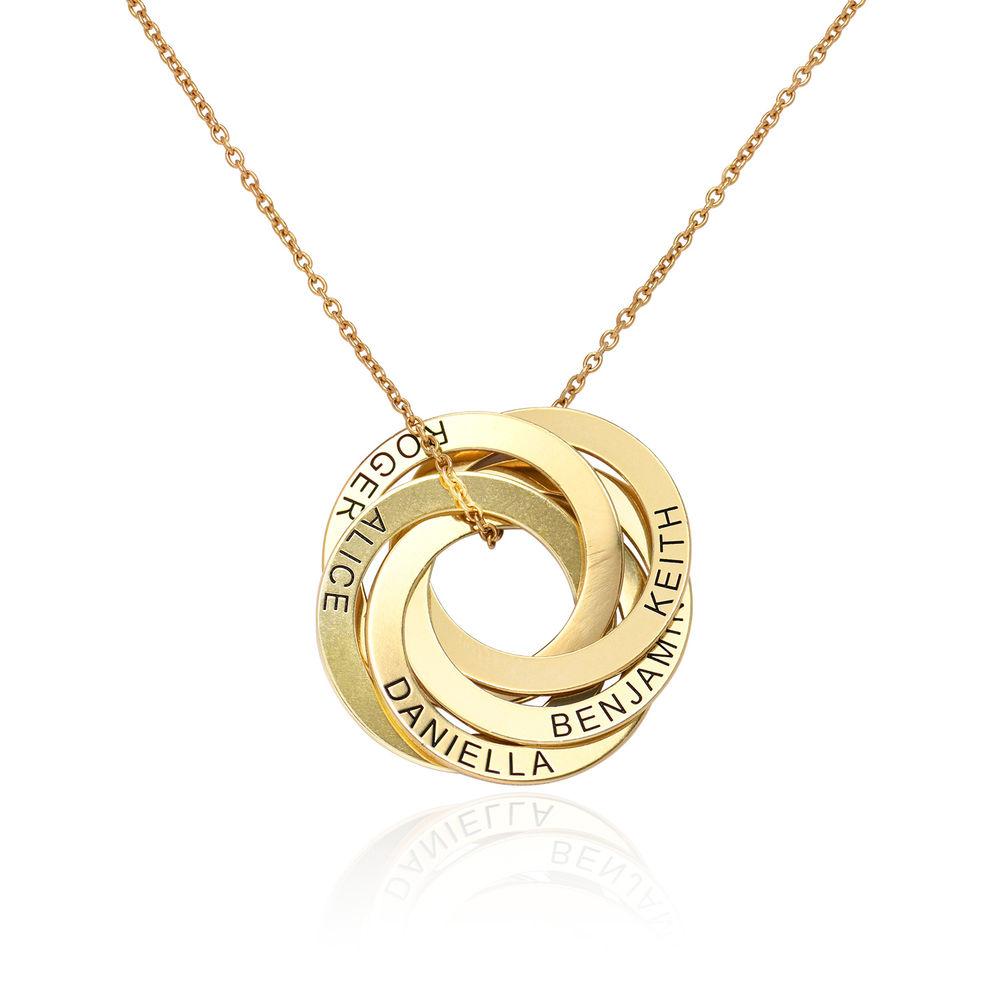 Collar de anillo ruso con cinco anillos en plata 925 chapado en oro 18k foto de producto