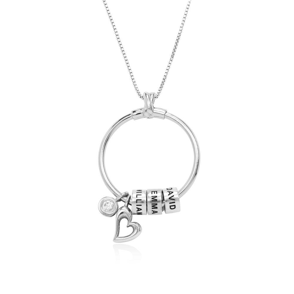 Collar Linda™ con Colgante Circular con Hoja, Perlas Personalizadas y Diamante en Plata de ley - 1