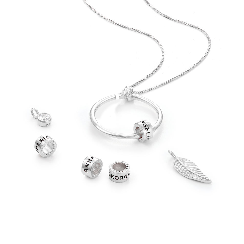 Collar Linda™ con Colgante Circular con Hoja, Perlas Personalizadas y Diamante en Plata de ley - 2