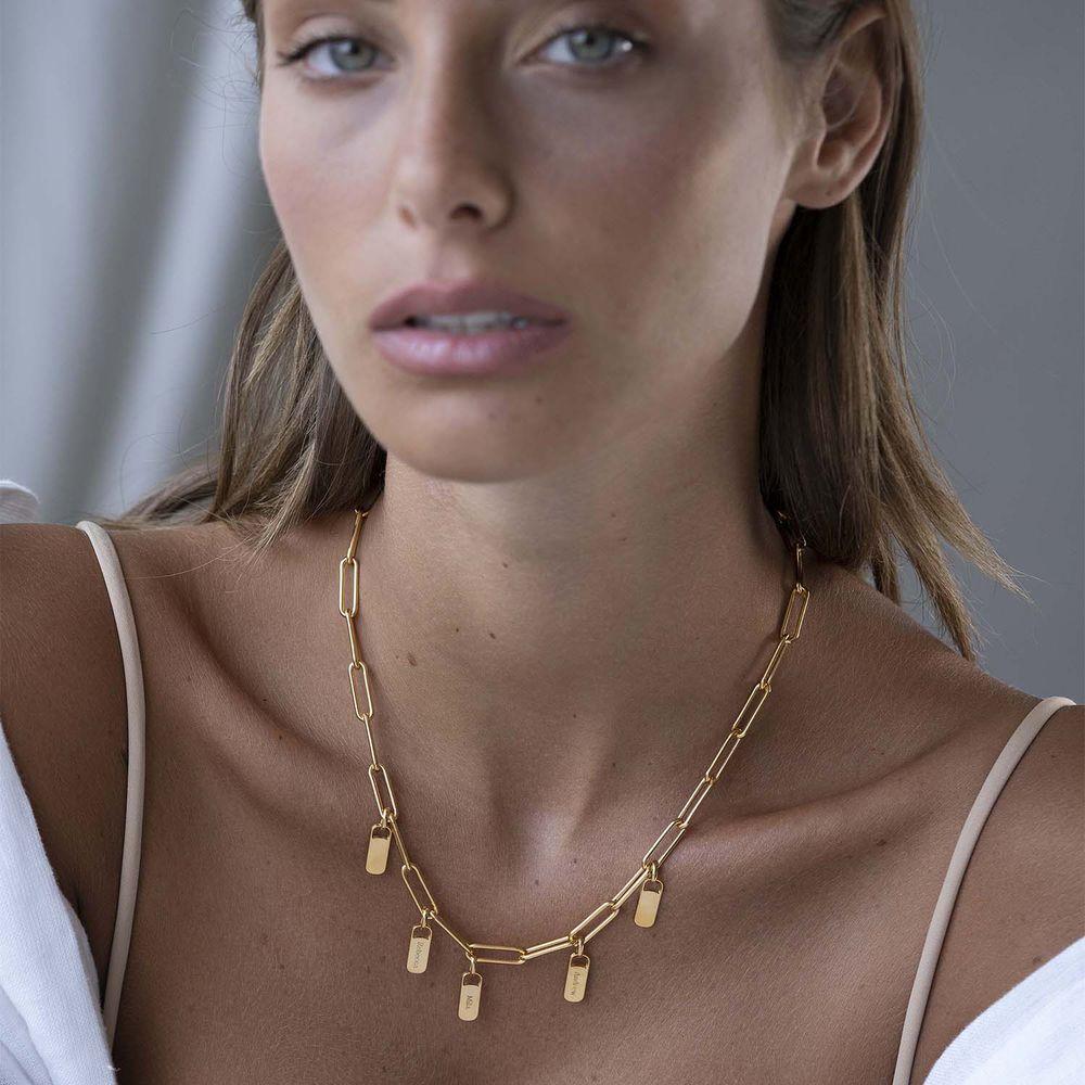 Collar de eslabones de cadena con encantos personalizados en chapa de oro - 1