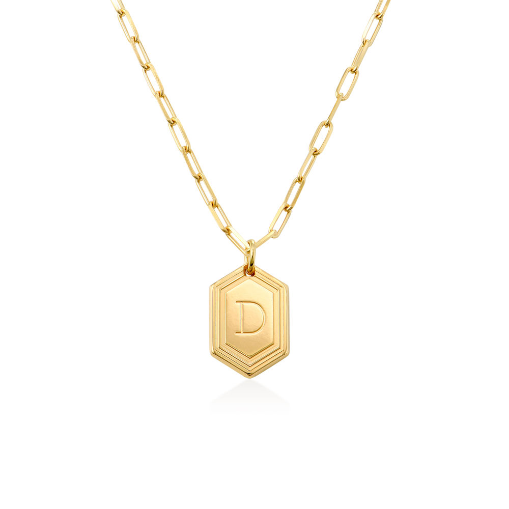Cupola collar de cadena de eslabones de cúpula en chapa de oro de 18k