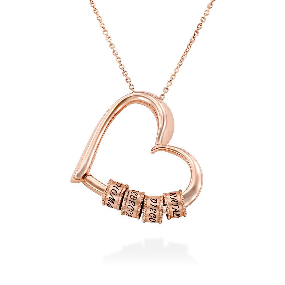 Collar con Colgante de Corazón con Perlas Grabadas Chapado en Oro Rosa 18K