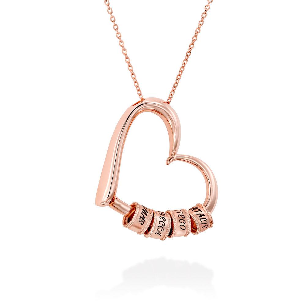 Collar con Colgante de Corazón con Perlas Grabadas Chapado en Oro Rosa 18K - 2