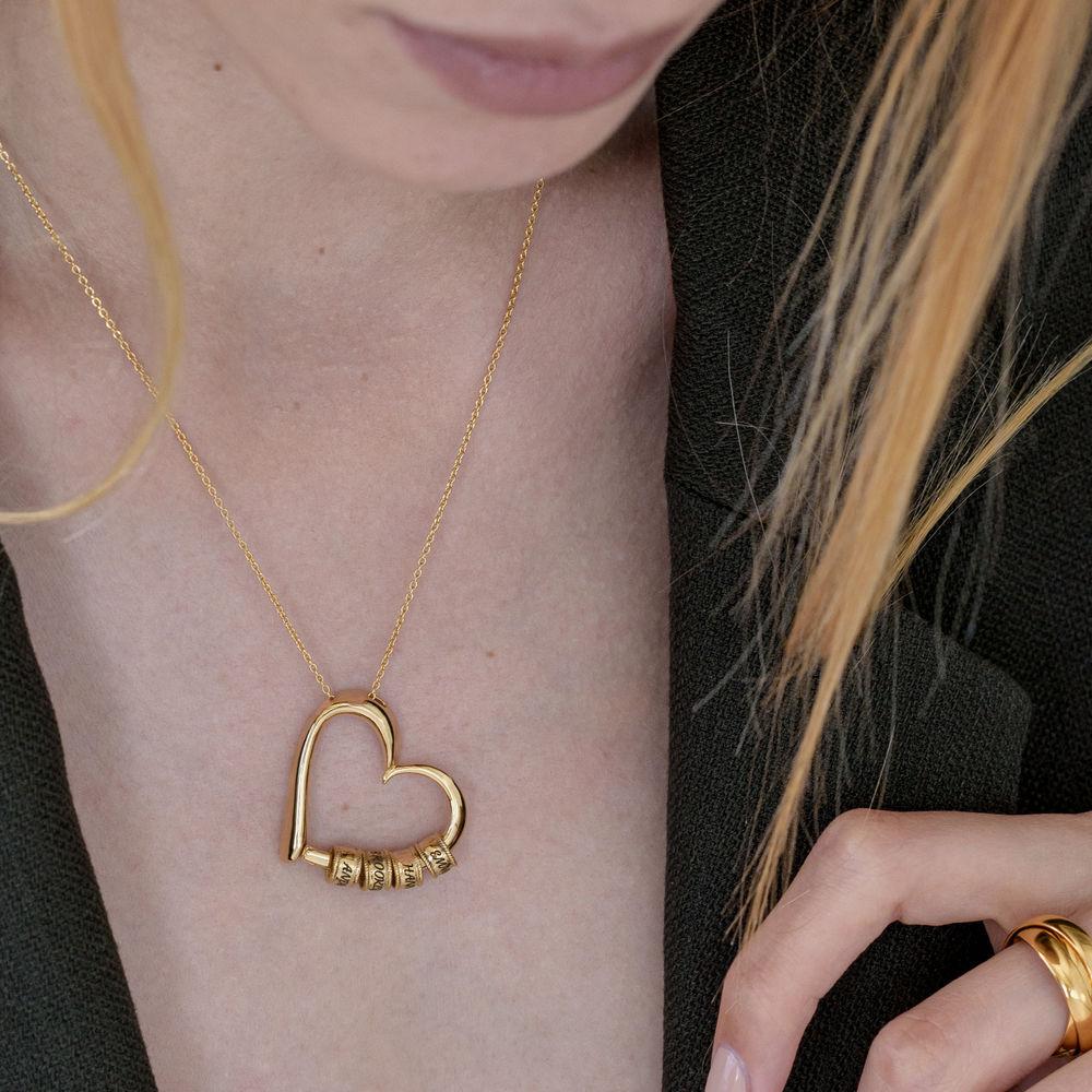 Collar con Colgante de Corazón con Perlas Grabadas en Oro Vermeil - 6