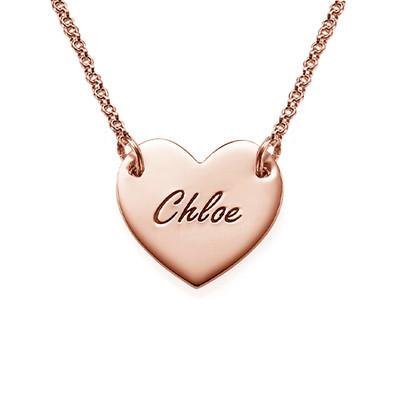 Collar Corazón Grabado Chapado en Oro Rosa de 18k foto de producto