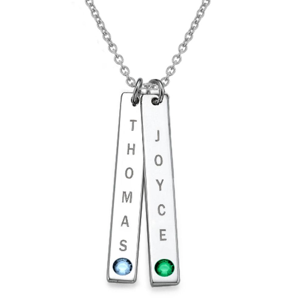 Collar colgante Vertical con cristales, Plata de Ley 0.925 foto de producto