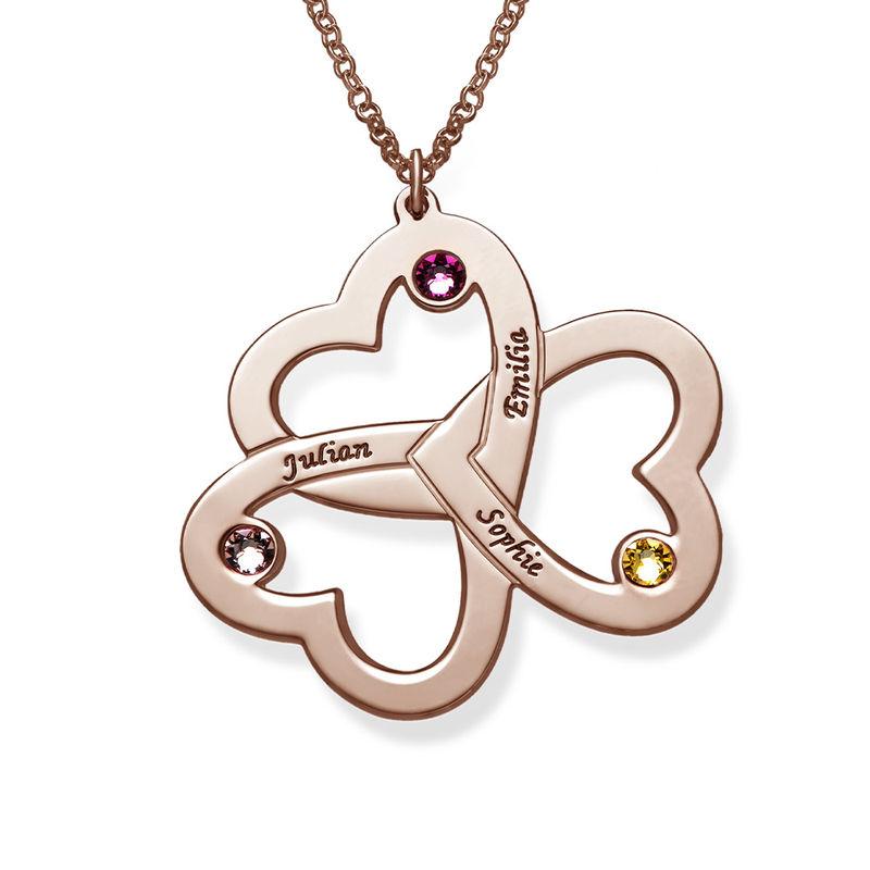 Collar de Triple Corazón en Chapa de Oro Rosa foto de producto