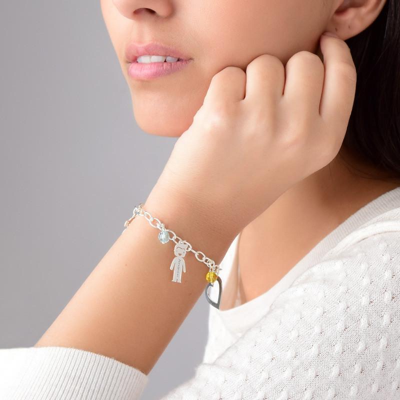 Pulsera para mamá con encantos y piedras de plata - 3