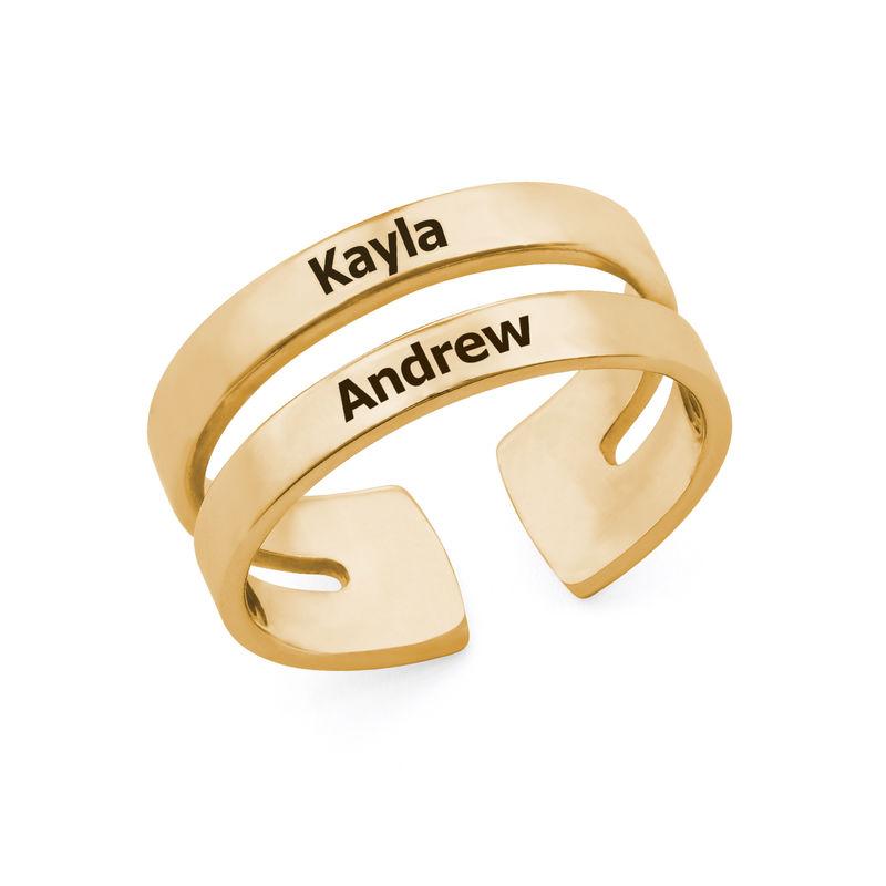 Anillo con dos nombres en oro Vermeil foto de producto