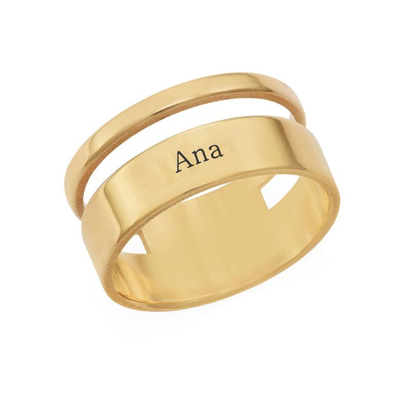Anillo asimetrico con Nombre en Chapa de Oro foto de producto