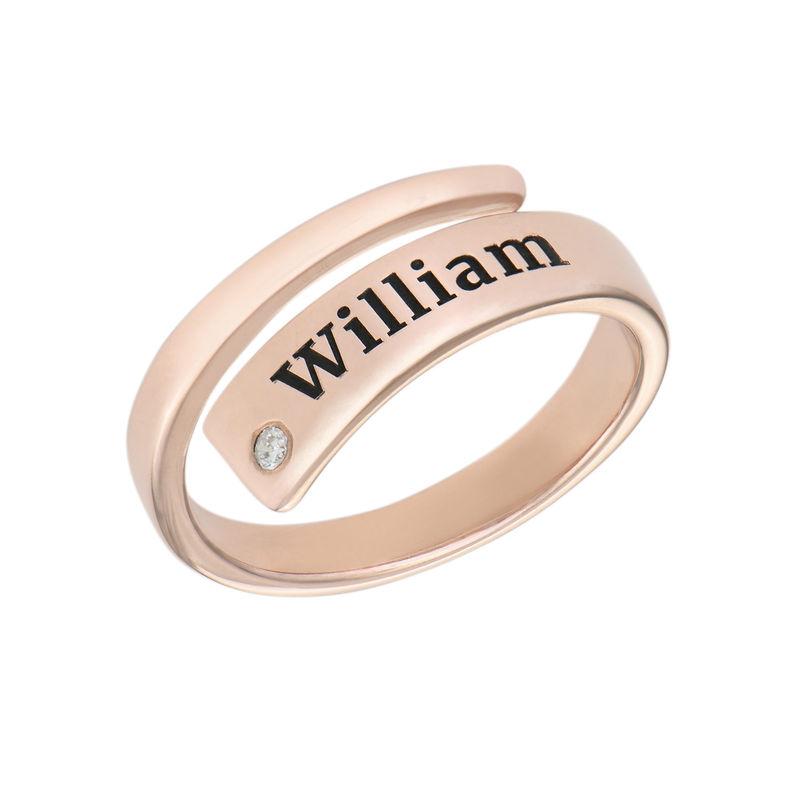 Anillo abierto personalizado con diamante chapado en oro rosa foto de producto