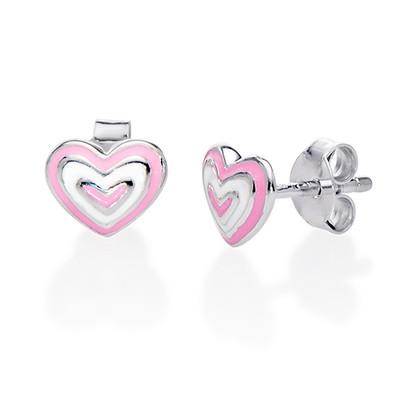 Aretes con Corazón Rosa Infantil foto de producto