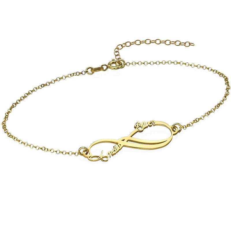 Pulsera Infinito con Dos Nombres chapada en oro foto de producto