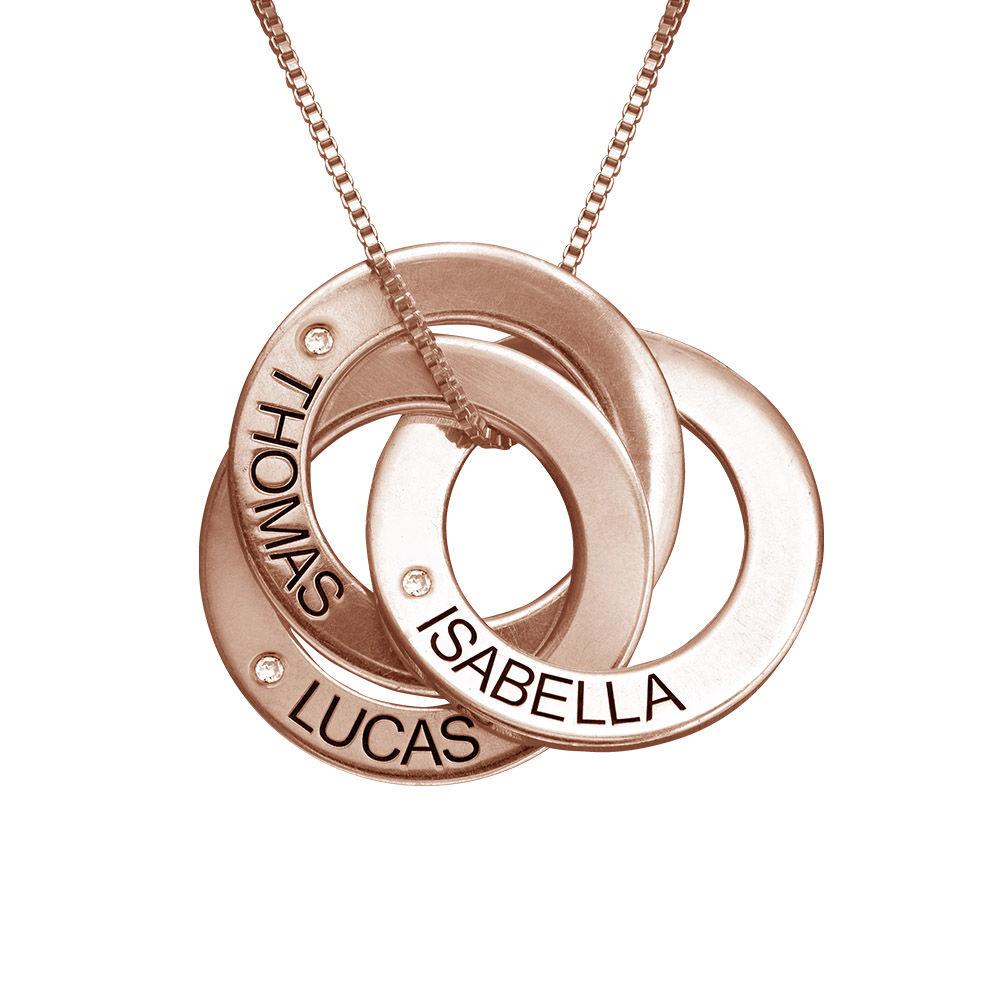 Collar Anillo Ruso Grabado con Diamantes Chapado en Oro Rosa foto de producto