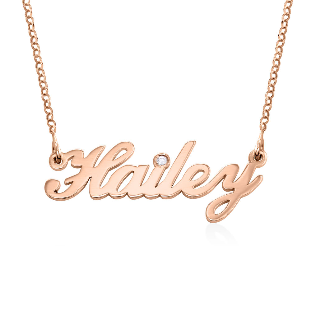 Pequeño collar con nombre clásico en chapado de oro rosa 18k con diamante foto de producto