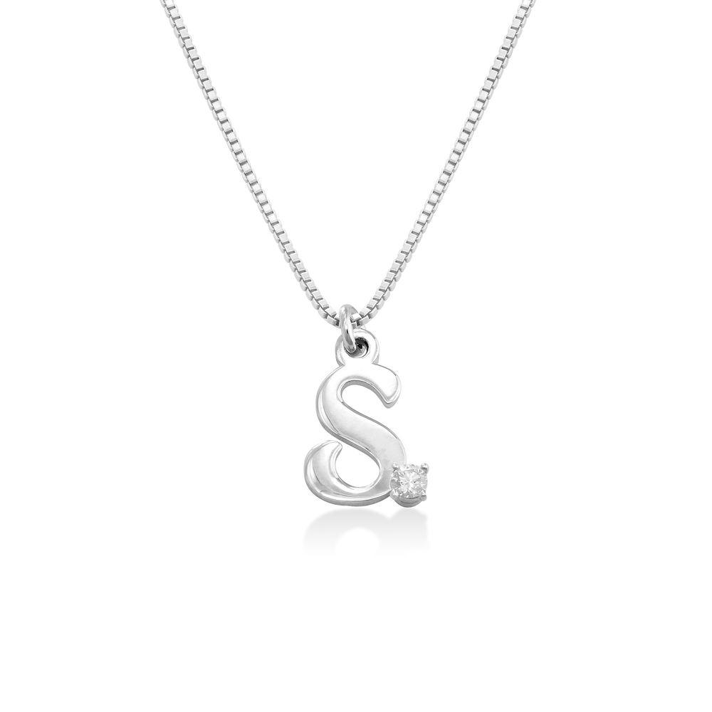 Collar inicial de diamantes en Plata de Ley foto de producto
