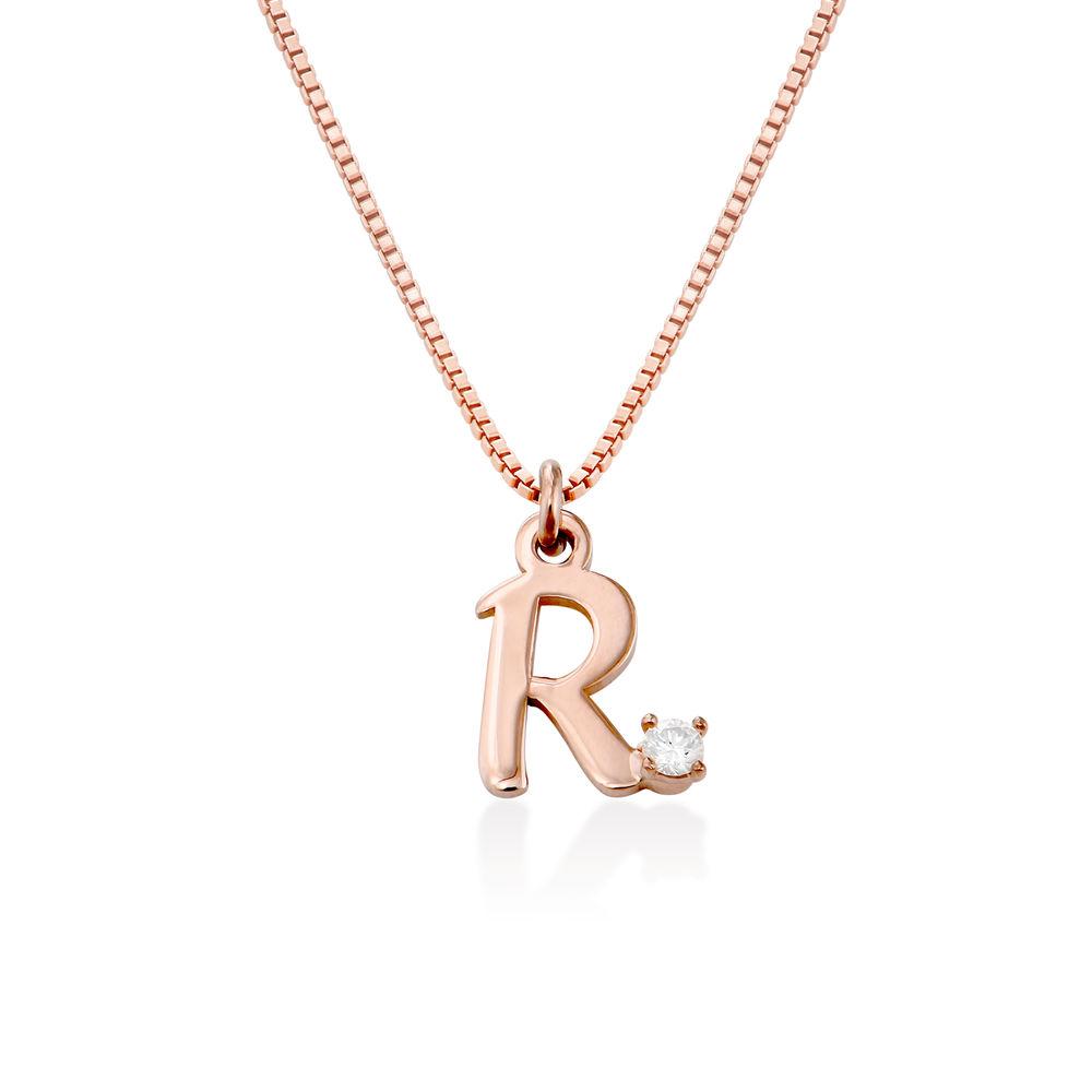 Collar inicial de diamantes en chapa de oro rosa de 18K foto de producto
