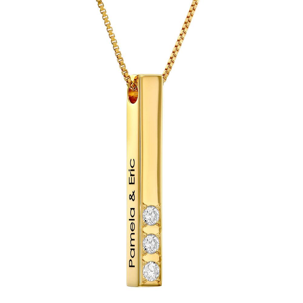 Collar de barra vertical 3D chapado en oro 18k con 0.10-0.30 CT. T.W Lab creado diamante foto de producto