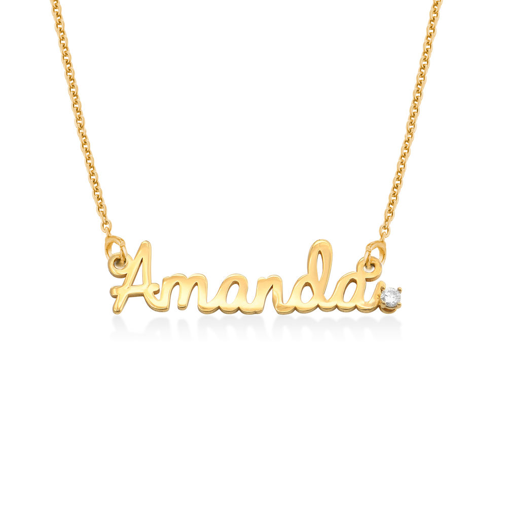 Collar con nombre cursivo en chapa de oro 18k con diamante foto de producto