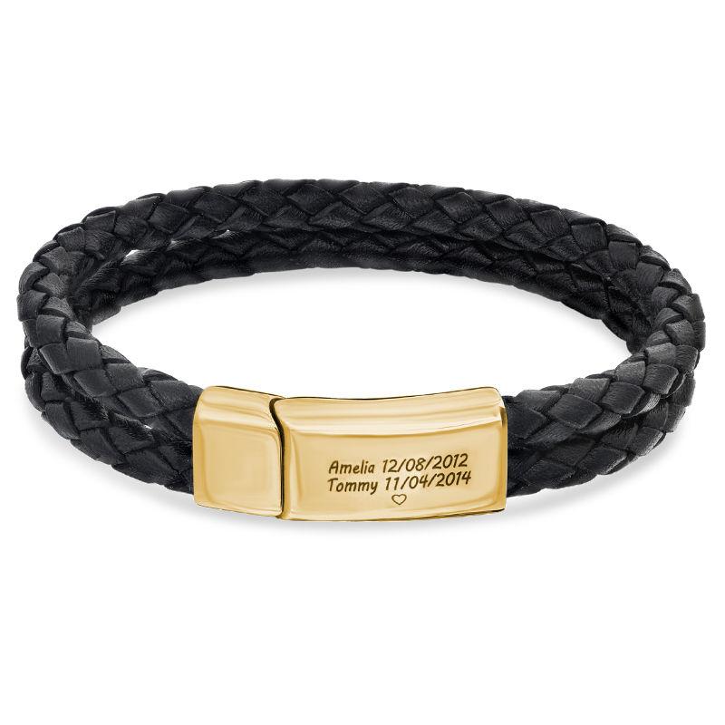 Pulsera Grabada para Hombre en Cuero Negro y Acero Inoxidable Chapado en Oro 18K foto de producto