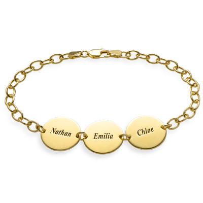 Regalo especial para Mamá - Pulsera de Disco con Nombres chapada en oro de 18k foto de producto