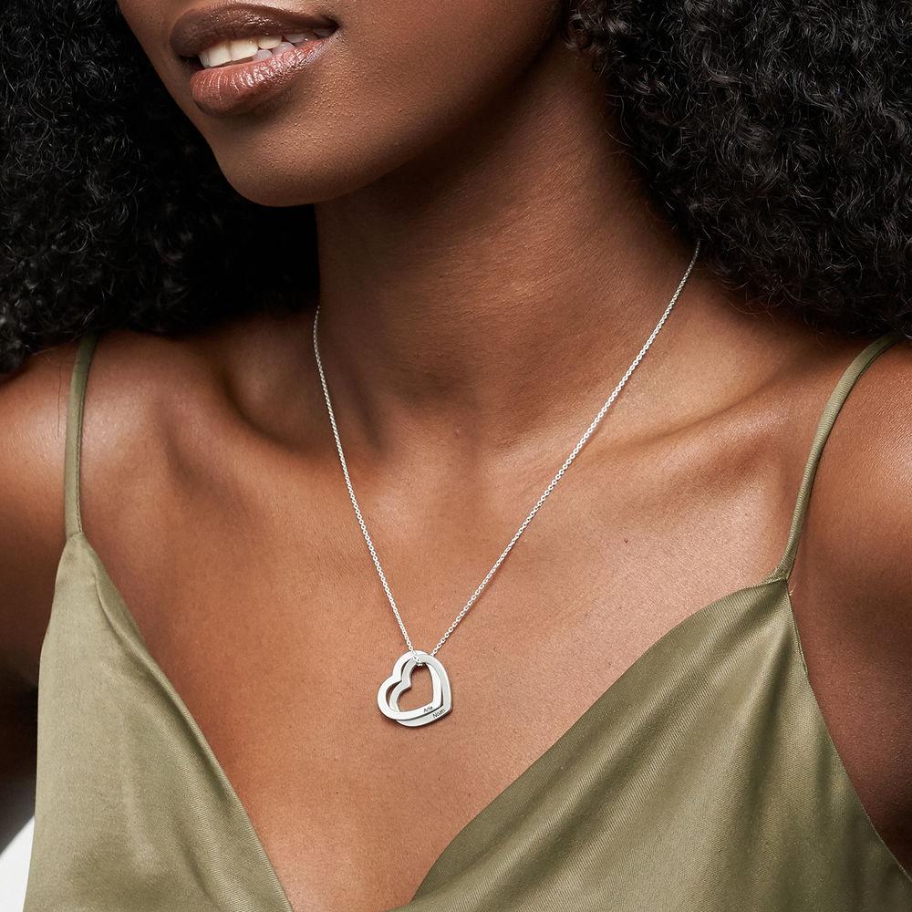 Sterling-hopeinen yhteen liittyvä sydän kaulakoru - 2